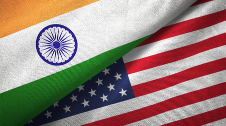 India and United States flags together relations textile cloth, fabric texture 스톡 콘텐츠