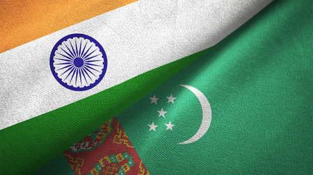 India and Turkmenistan flags together relations textile cloth, fabric texture