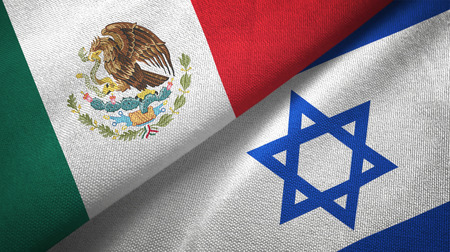 Mexico and Israel flags together textile cloth, fabric texture