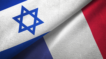 Israel and France flags together textile cloth, fabric texture Stock Photo