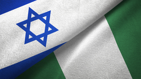 Israel and Nigeria flags together textile cloth, fabric texture