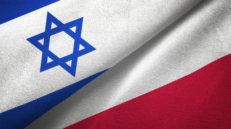 Israel and Poland flags together textile cloth, fabric texture