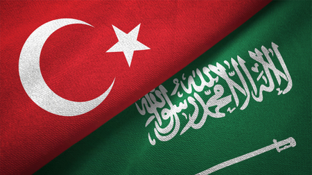 Turkey and Saudi Arabia flags textile cloth, fabric texture. Text on saudi arabian flag means - There is no god but God, Muhammad is the Messenger of God