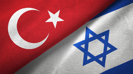 Turkey and Israel flags together textile cloth, fabric texture