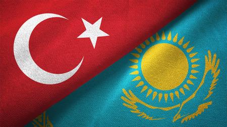 Turkey and Kazakhstan flags together textile cloth, fabric texture Stok Fotoğraf