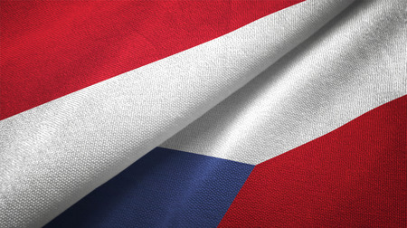 Indonesia and Czech Republic flags together textile cloth, fabric texture