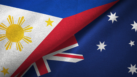 Philippines and Australia flags together relations textile cloth, fabric texture