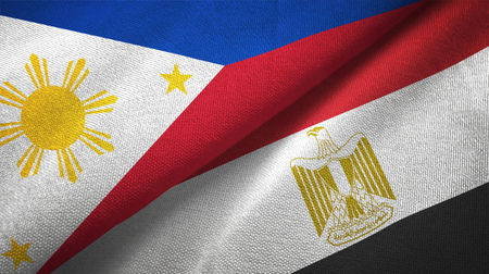 Philippines and Egypt flags together relations textile cloth, fabric texture. Text on egyptian flag means - Arab Republic of Egypt