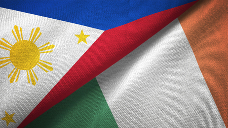 Philippines and Ireland flags together relations textile cloth, fabric texture Zdjęcie Seryjne - 117621376