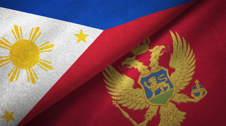 Philippines and Montenegro flags together relations textile cloth, fabric texture Stock Photo