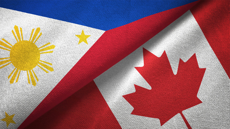 Philippines and Canada flags together relations textile cloth, fabric texture