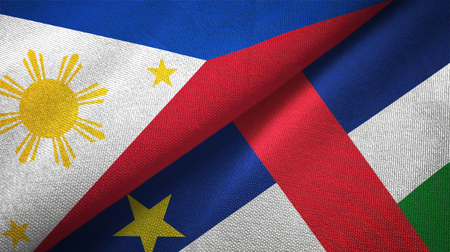 Philippines and Central African Republic flags together relations textile cloth, fabric texture