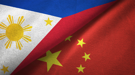 Philippines and China flags together relations textile cloth, fabric texture