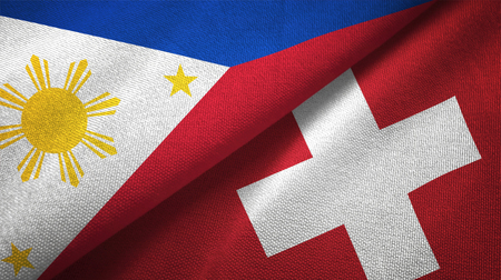 Philippines and Switzerland flags together relations textile cloth, fabric texture Stock Photo