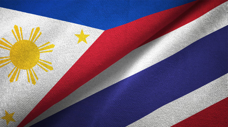 Philippines and Thailand flags together relations textile cloth, fabric texture