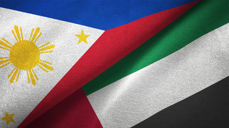 Philippines and United Arab Emirates flags together relations textile cloth, fabric texture Stock Photo