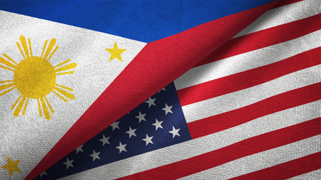 Philippines and United States flags together relations textile cloth, fabric texture