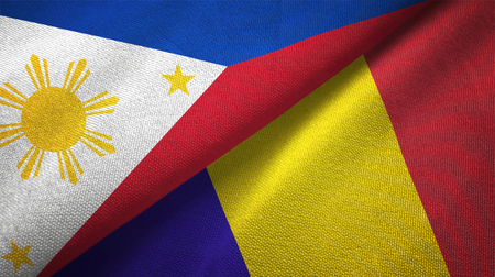 Philippines and Romania flags together relations textile cloth, fabric texture