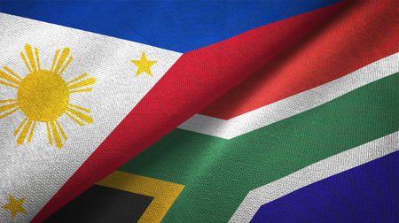 Philippines and South Africa flags together relations textile cloth, fabric texture