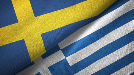 Sweden and Greece flags together relations textile cloth, fabric texture