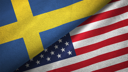 Sweden and United States flags together relations textile cloth, fabric texture Stock Photo