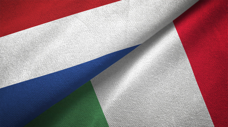 Netherlands and Italy flags together relations textile cloth, fabric texture Foto de archivo