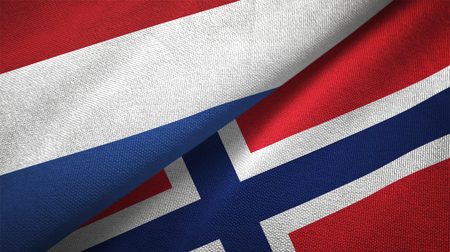 Netherlands and Norway flags together relations textile cloth, fabric texture