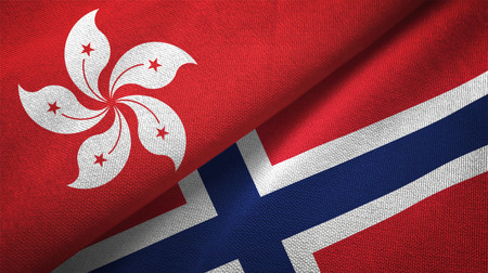 Hong Kong and Norway flags together relations textile cloth, fabric texture Stock Photo