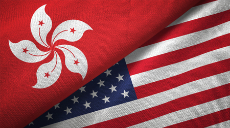 Hong Kong and United States flags together relations textile cloth, fabric texture Reklamní fotografie
