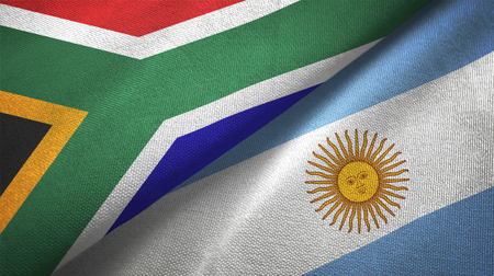 South Africa and Argentine flags together relations textile cloth, fabric texture Foto de archivo - 117620194