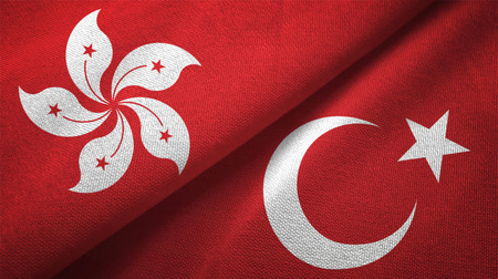 Hong Kong and Turkey flags together relations textile cloth, fabric texture