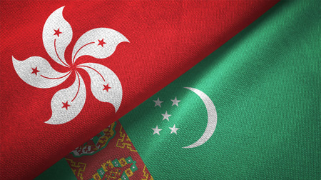 Hong Kong and Turkmenistan flags together relations textile cloth, fabric texture Stock Photo