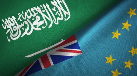 Saudi Arabia and Tuvalu flags. Text on saudi arabian flag means - There is no god but God, Muhammad is the Messenger of God