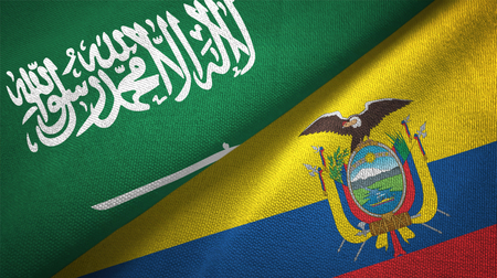 Saudi Arabia and Ecuador flags. Text on saudi arabian flag means - There is no god but God, Muhammad is the Messenger of God