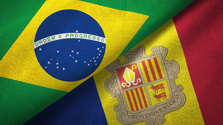 Brazil and Andorra two folded flags together