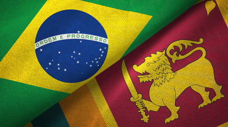 Brazil and Sri Lanka two folded flags together