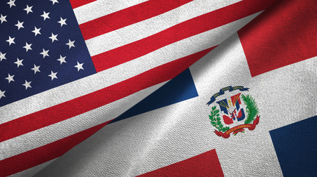 United States and Dominican Republic two folded flags together 版權商用圖片 - 118136711