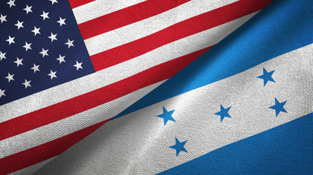 United States and Honduras two folded flags together