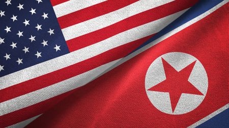 United States and North Korea two folded flags together Stock Photo