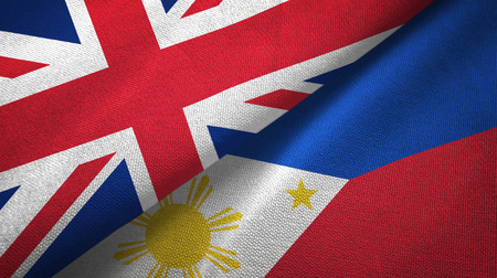 United Kingdom and Philippines two folded flags together