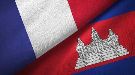 France and Cambodia two folded flags together Stock Photo
