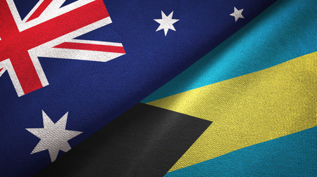Australia and Bahamas two folded flags together