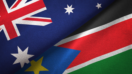 Australia and South Sudan two folded flags together