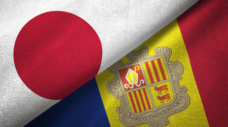 Japan and Andorra two folded flags together Imagens