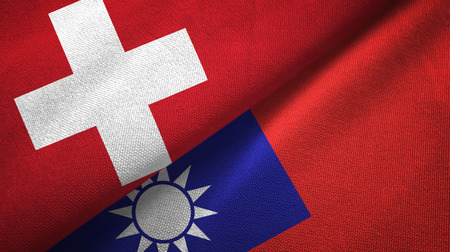 Switzerland and Taiwan two folded flags together