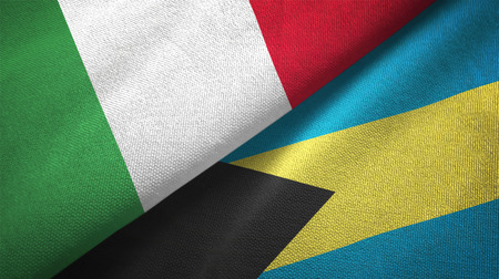 Italy and Bahamas two folded flags together