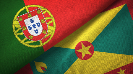 Portugal and Grenada two folded flags together Imagens