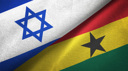 Israel and Ghana two folded flags together 스톡 콘텐츠