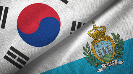 South Korea and San Marino two folded flags together