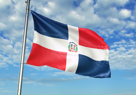 Dominican Republic flag waving in the cloudy sky 3D illustration